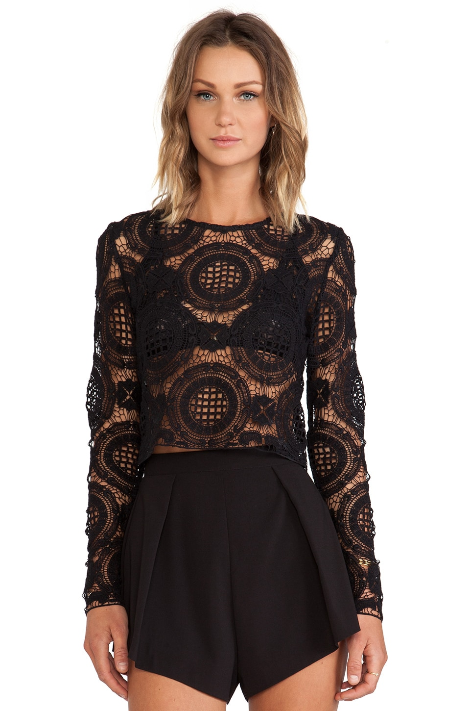 Alexis X REVOLVE Frederick Long Sleeve Lace Crop Top in Black