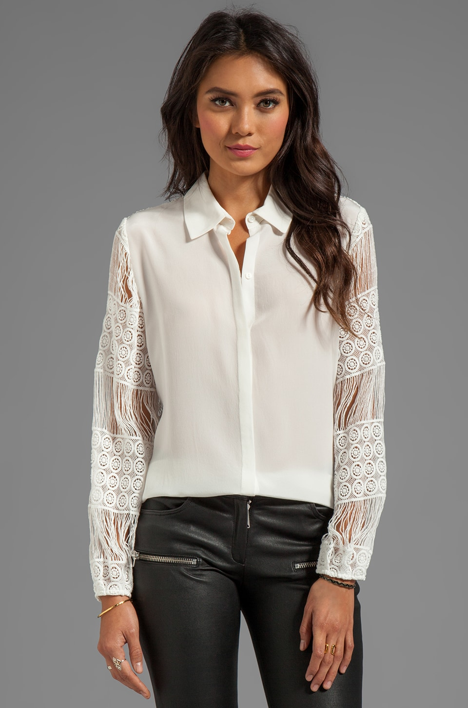Alexis Aleksandra Button Down Blouse With Crochet Sleeves in White