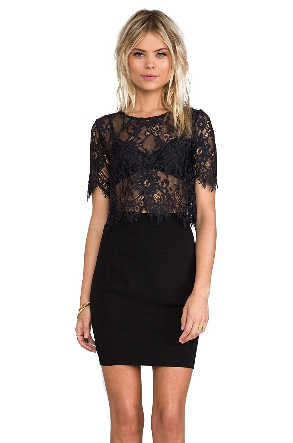 Alexis Lisette Crop Lace Top With Cap Sleeves in Black Lace