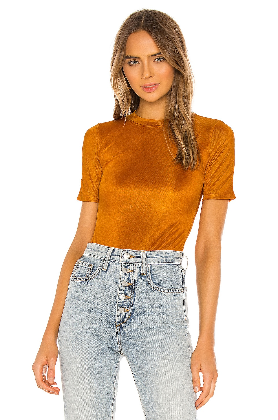 ALIX NYC Ridge Bodysuit in Saffron