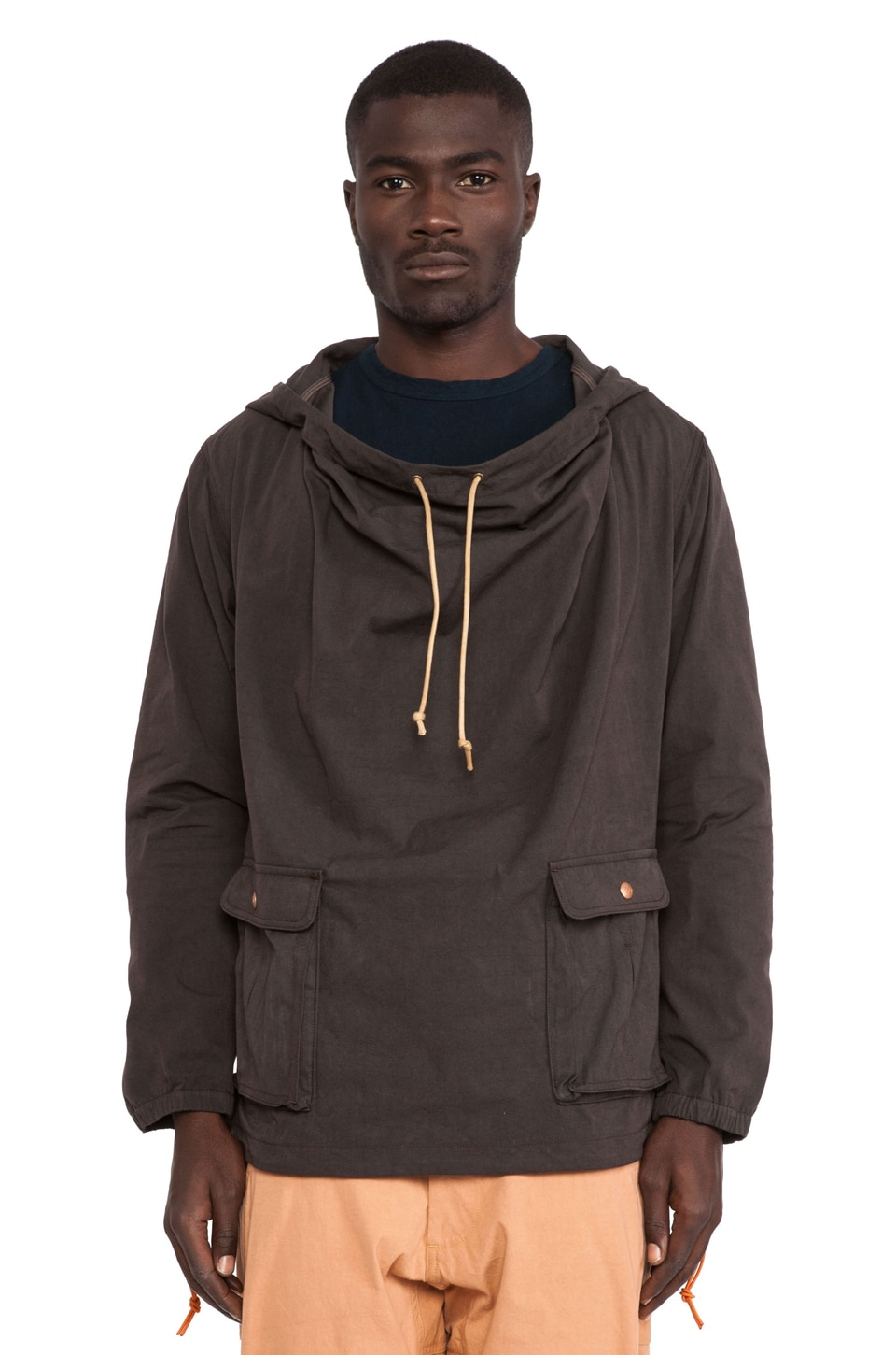 AXS Folk Technology Wideneck Anorak in Burnt Brown