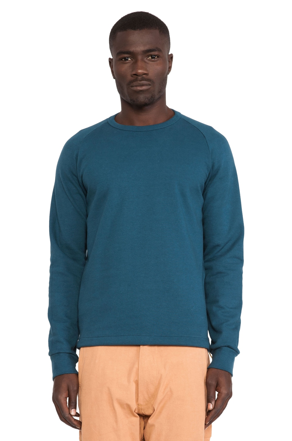 AXS Folk Technology French Terry Crew Sweatshirt in Deep Blue