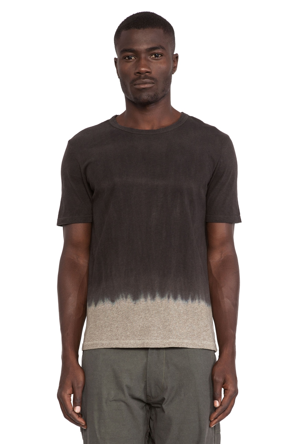 AXS Folk Technology Double Dye Crew Tee in Deep Charcoal