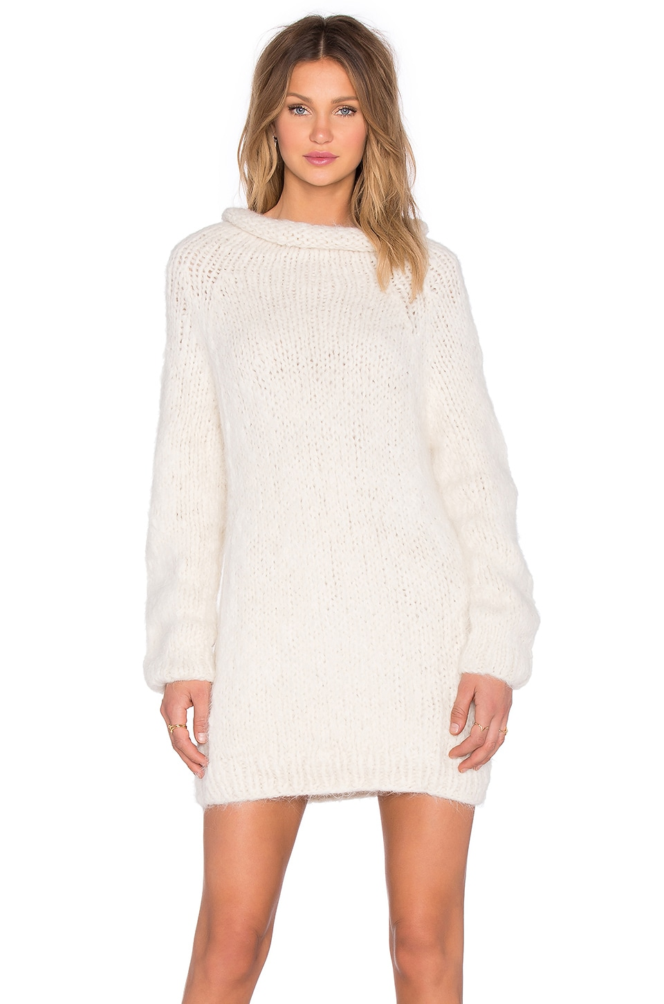 AYNI Anona Oversized Sweater Dress in Off White