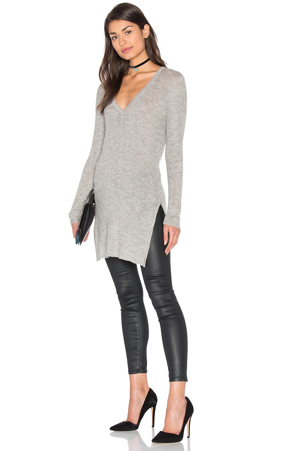 AYNI Sanka Side Slit V Neck Sweater in Light Grey