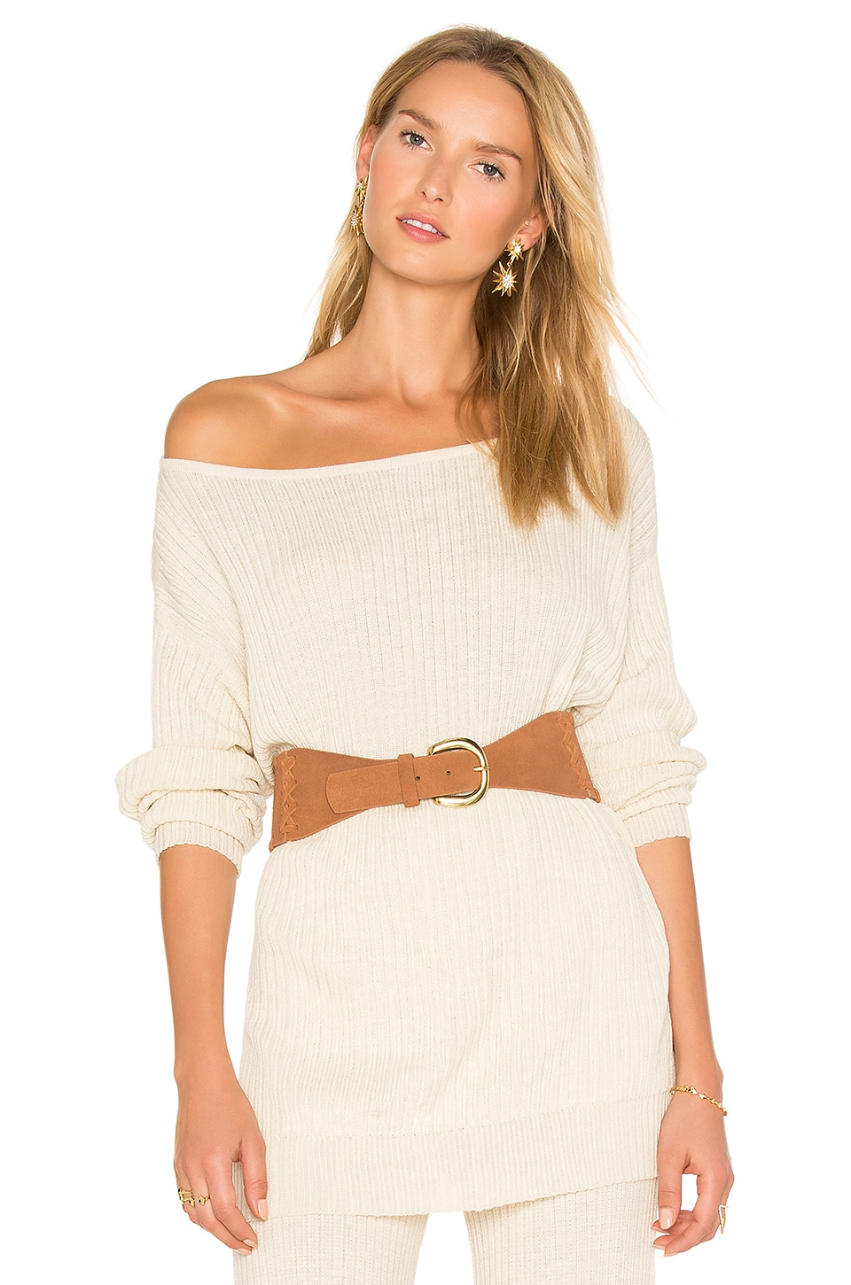 AYNI Java Off the Shoulder Sweater in Eggshell