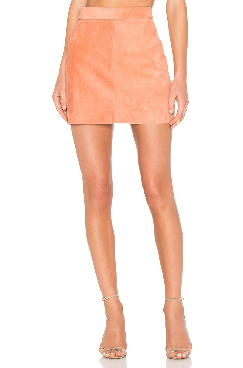 AYNI Platina Suede Skirt in Pale Pink
