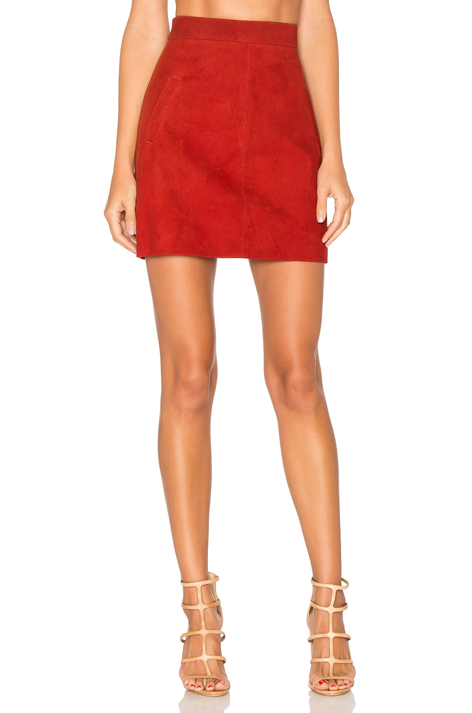 AYNI Wara Mini Skirt in Cherry Suede