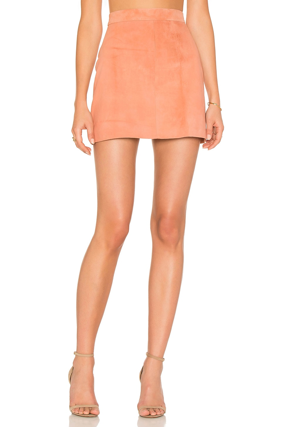 AYNI Platina Suede Mini Skirt in Blush