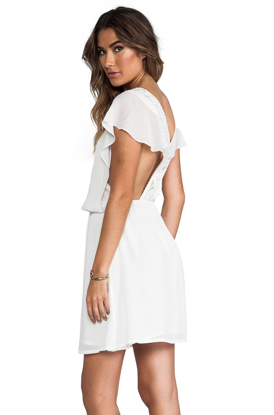 ba&sh Emma Cross Back Dress in Ecru