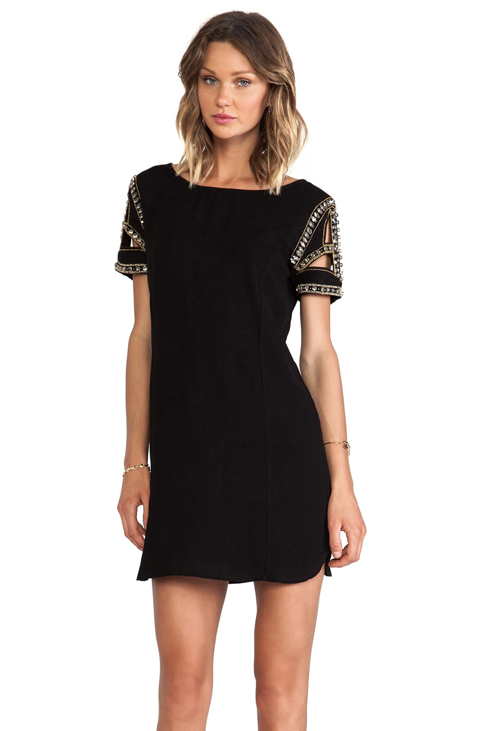 ba&sh Calpton Embellished Sleeve Dress in Noir