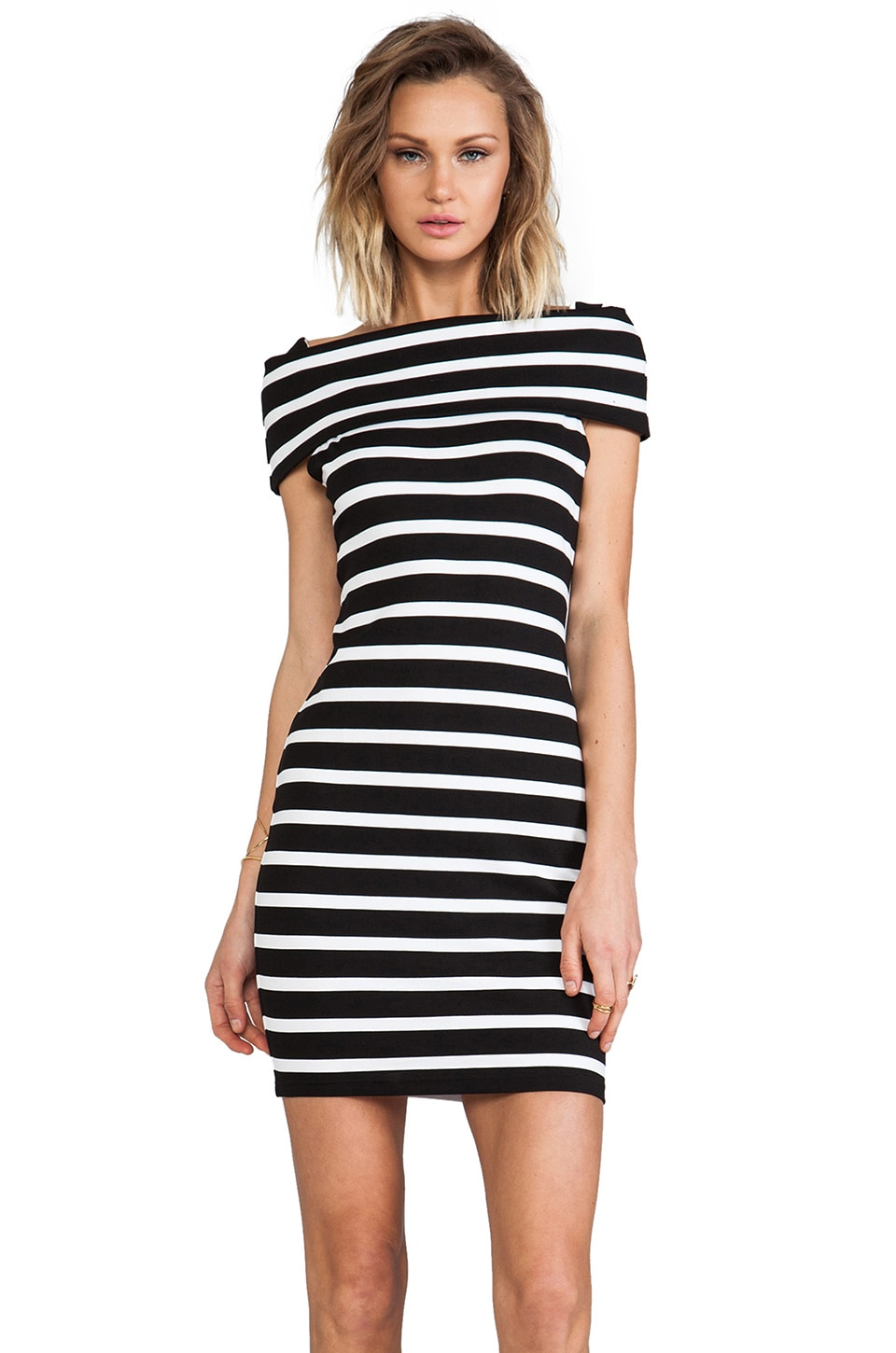 Backstage Karolina Off Shoulder Dress in Stripe