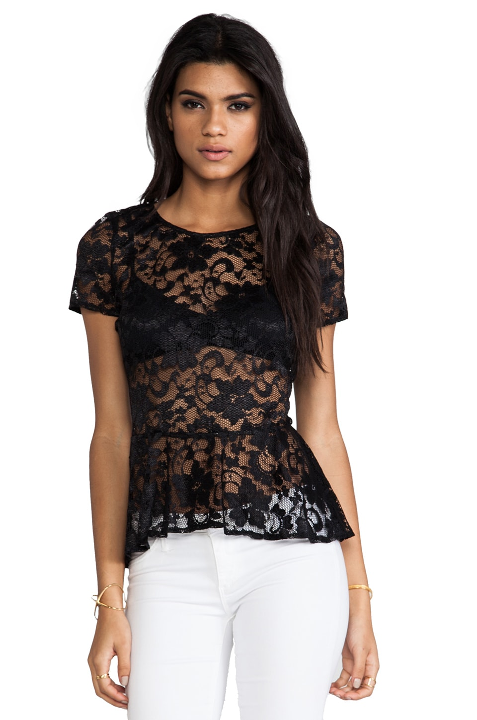Backstage Monica Lace Peplum Top in Black