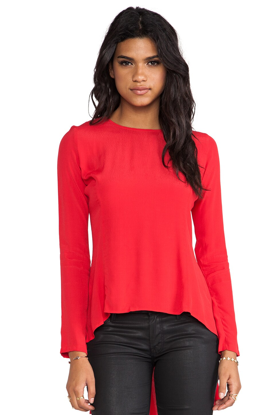 Backstage Long Sleeve Express Yourself Top in Red
