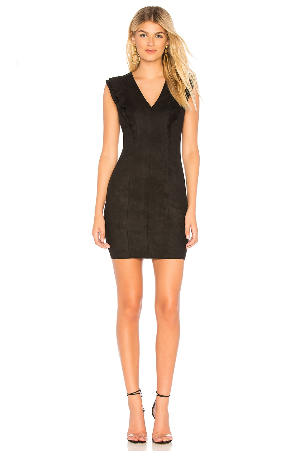 Glade Skiing Ruffled Faux Suede Dress in Black