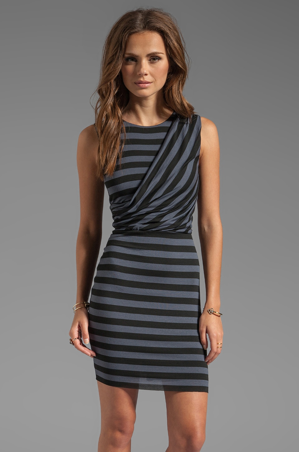 Bailey 44 Dial-Up Stripe Wrap Dress in Black/Grey