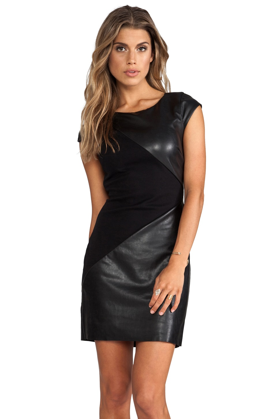 Bailey 44 Disc Leather Detail Dress in Black