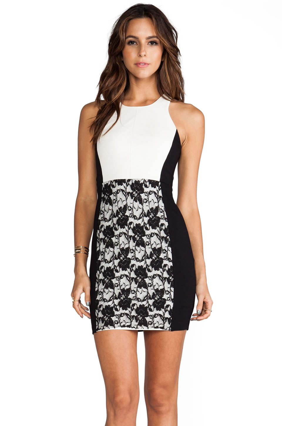 Bailey 44 Dagger and a Kiss Lace Dress in Black/Cream