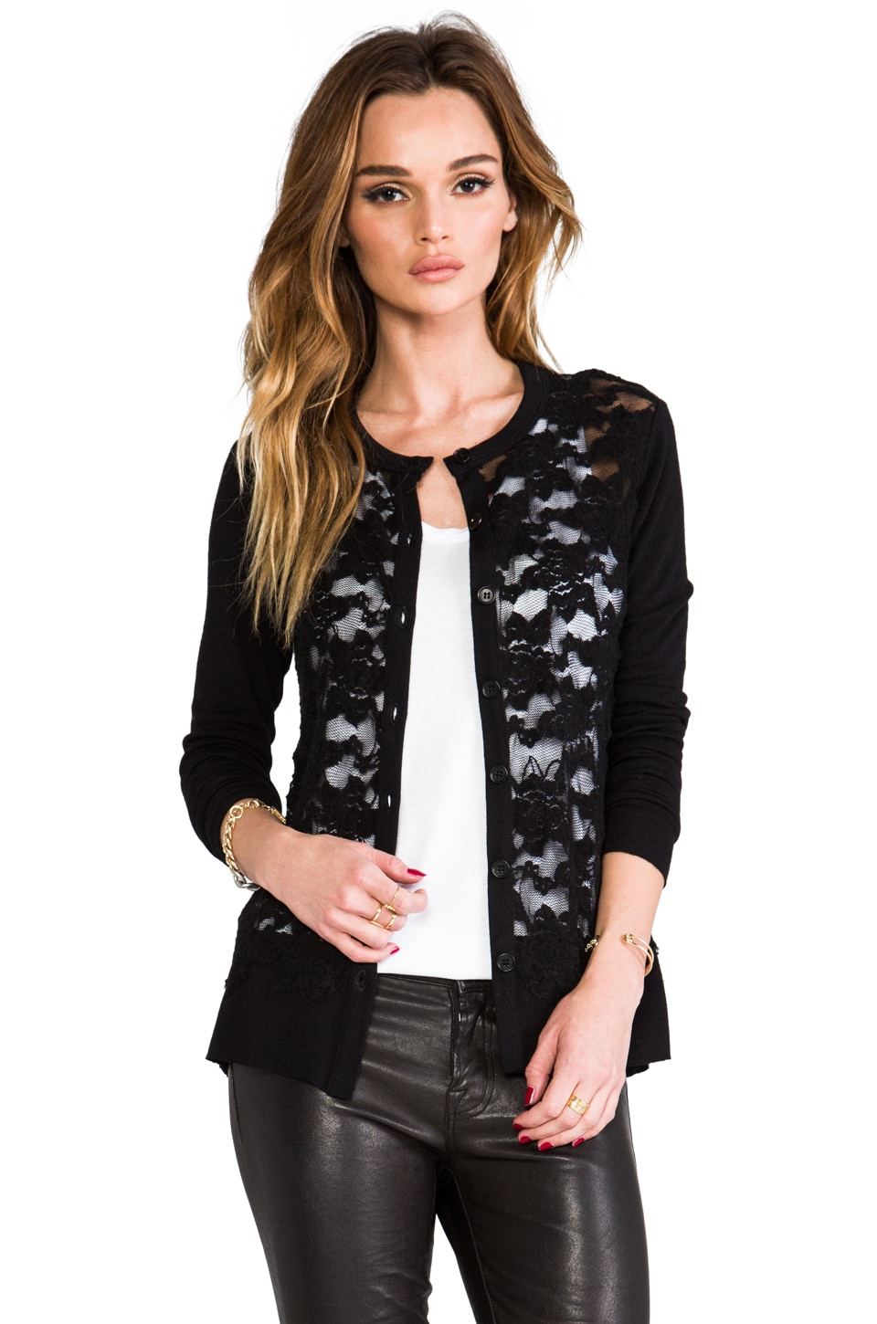 Bailey 44 Fatal Chase Lace Cardigan in Black