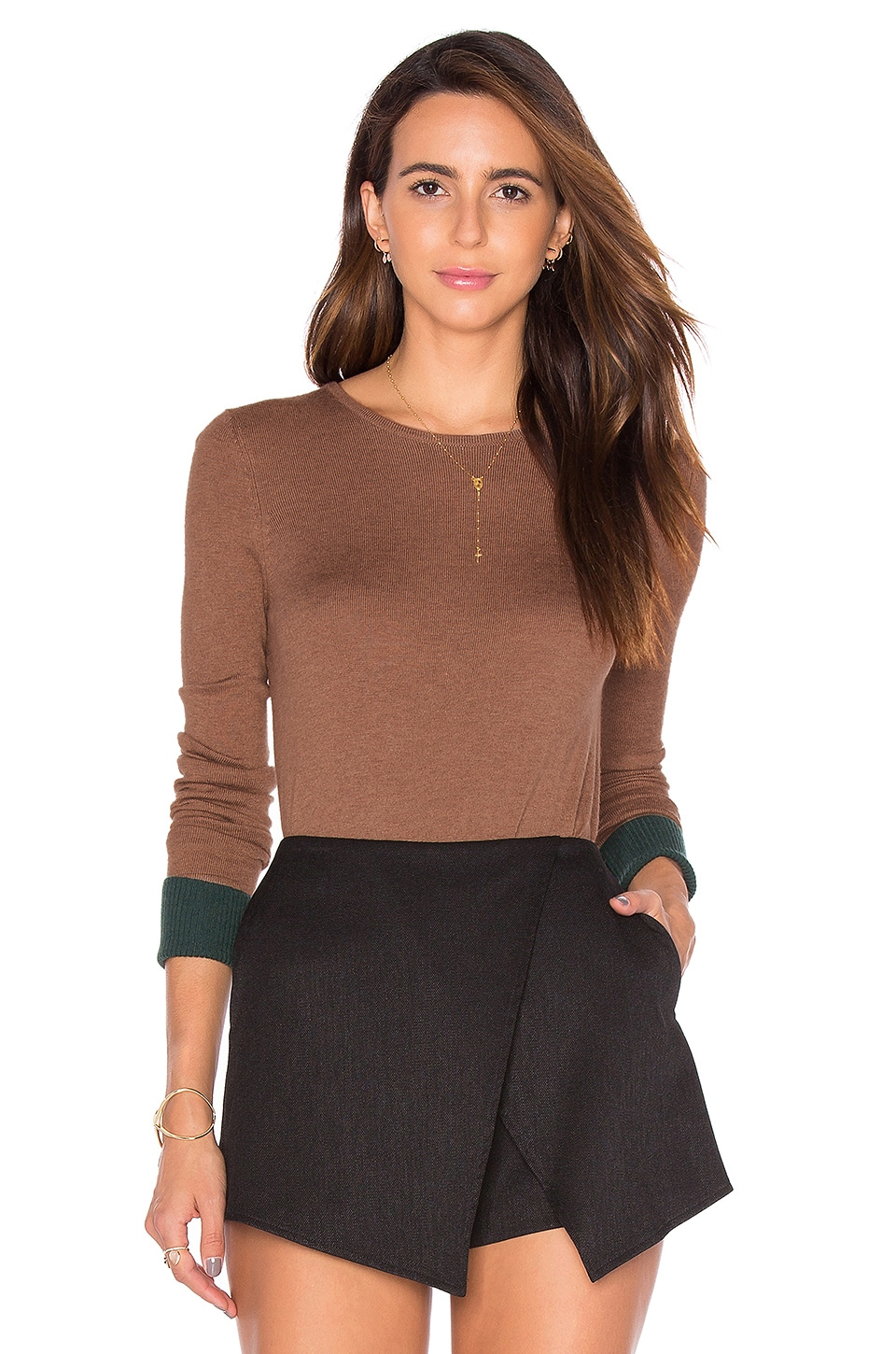 Bailey 44 Highly Selective Sweater in Camel & Evergreen