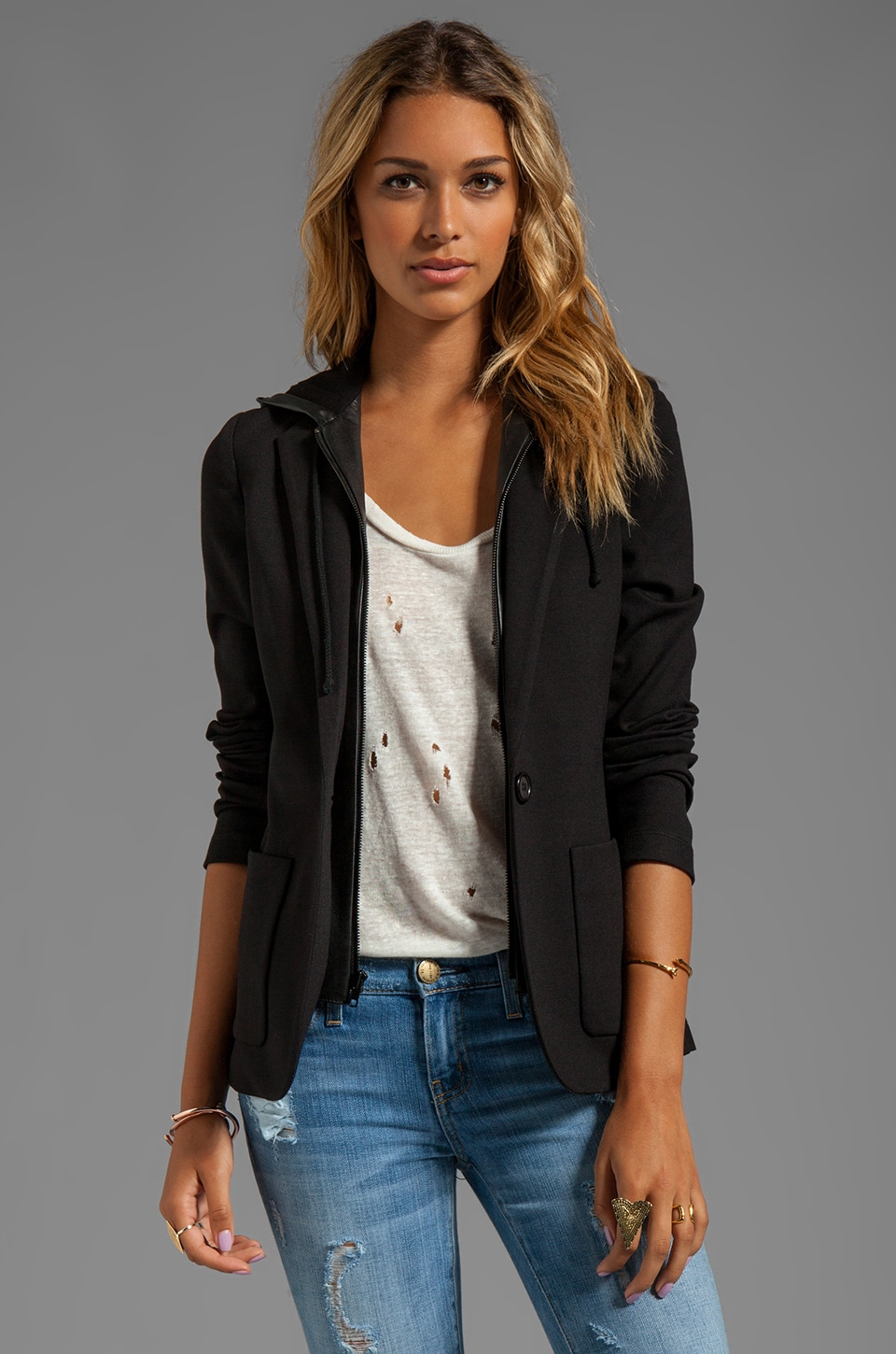 Bailey 44 Haiku Leather Trim Blazer with Hood in Black/Black