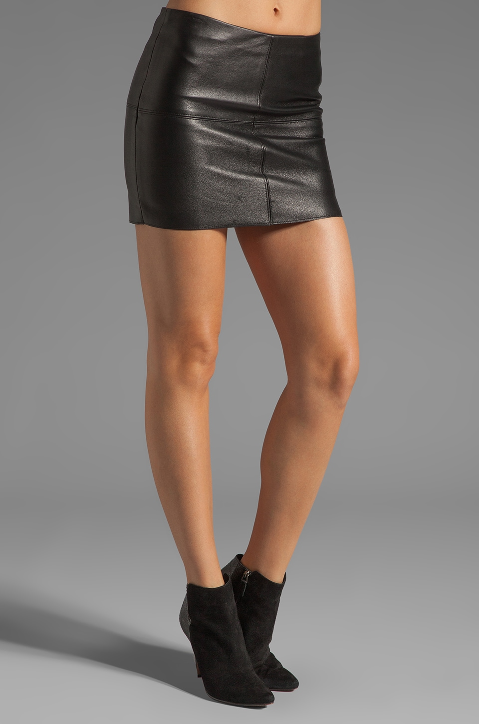 Bailey 44 Turtle Mini Leather Skirt in Black