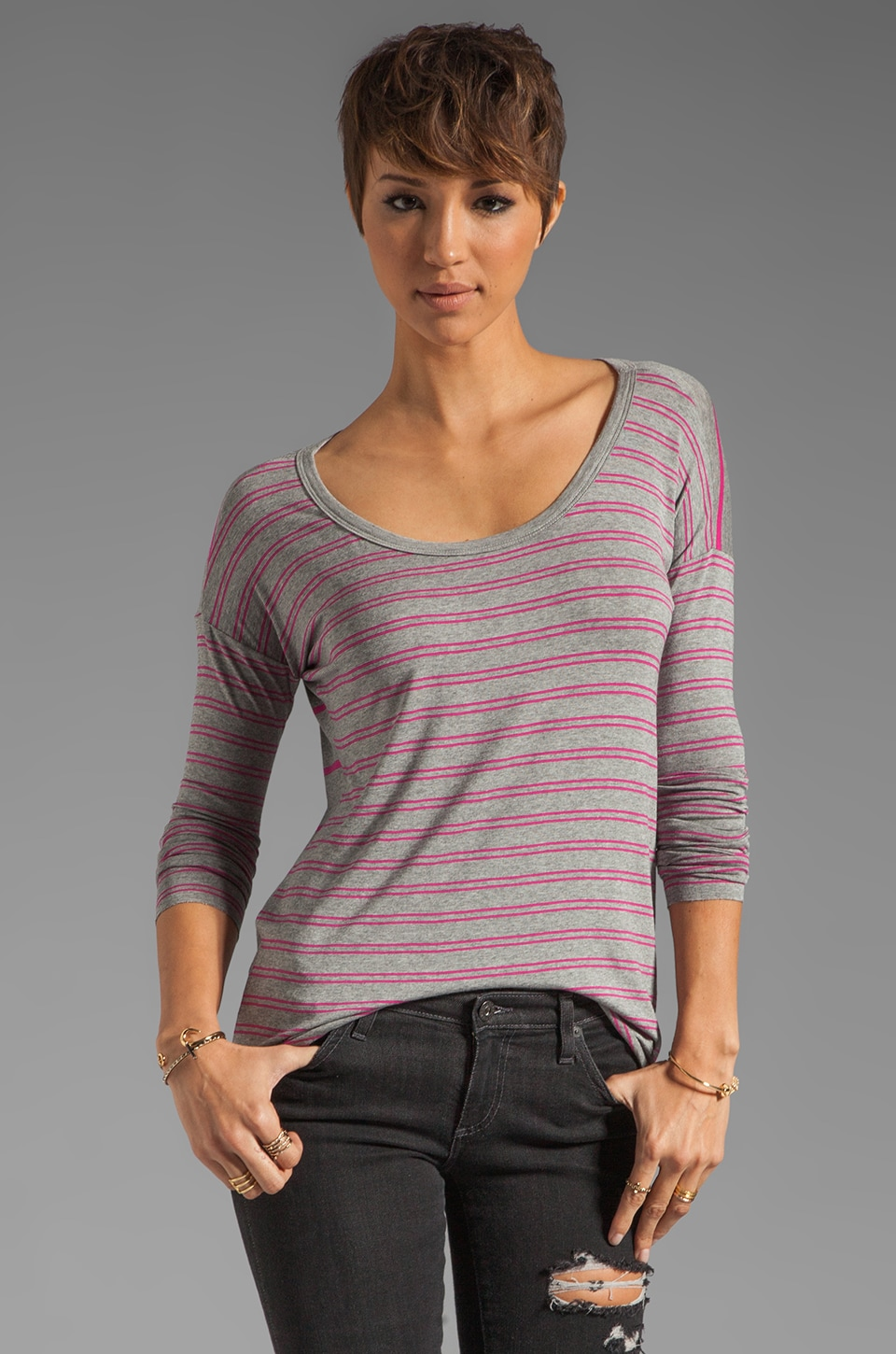 Bailey 44 T-shirt Shot Put en Gris/Rose
