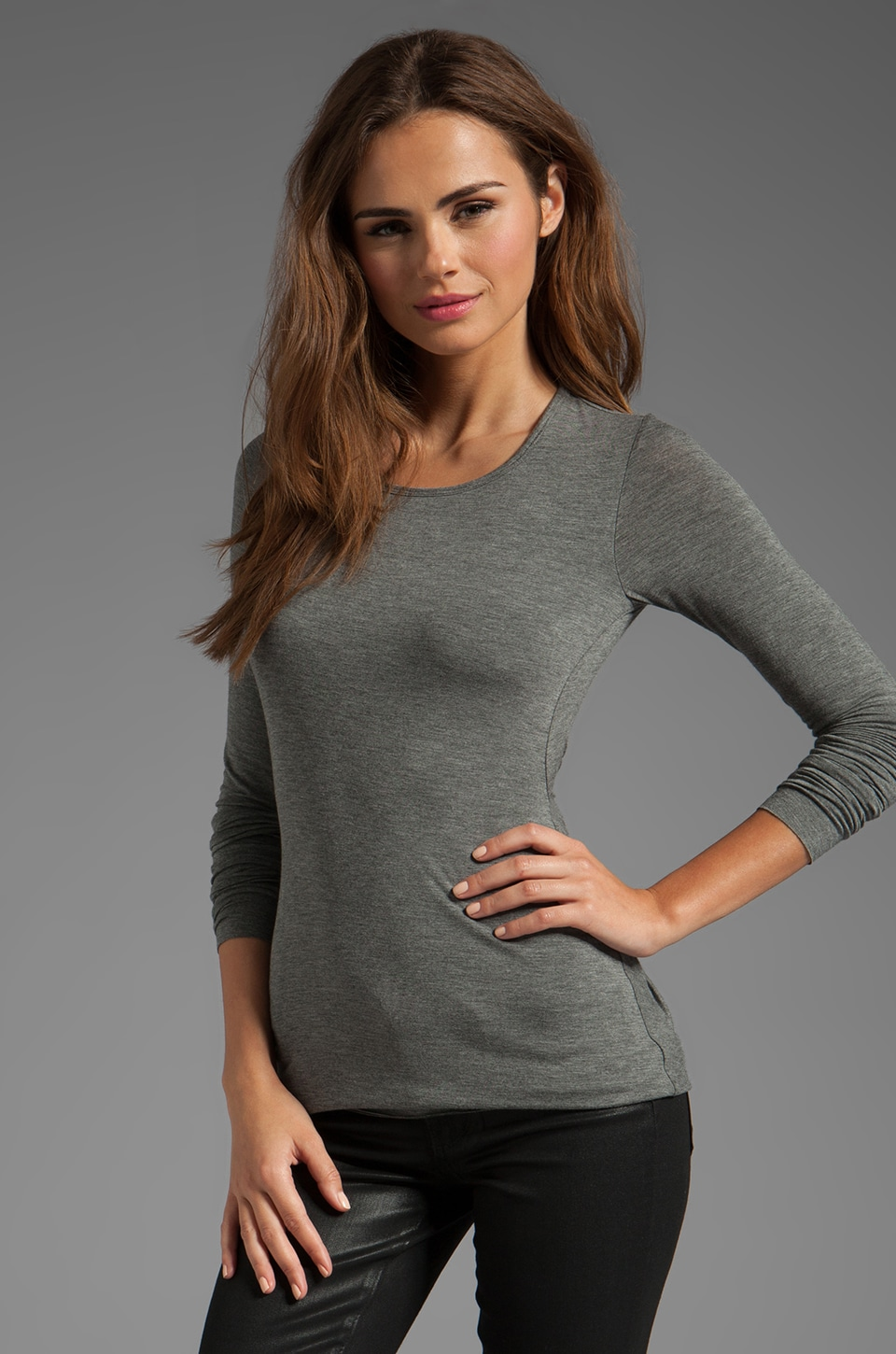 Bailey 44 Beauty is Truth Twist Back Top in Mercury Heather