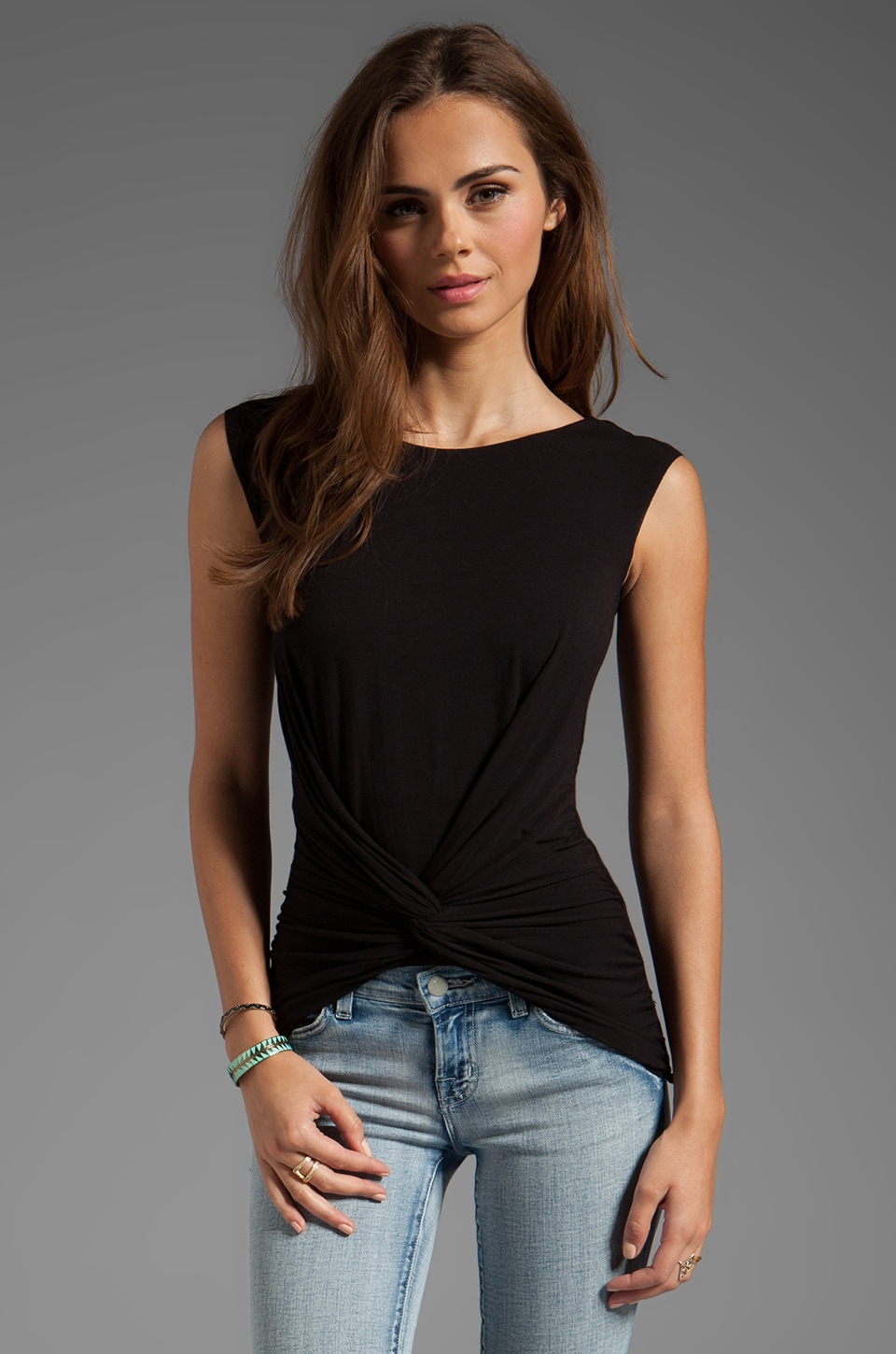 Bailey 44 Red Red Rose Twist Front Top in Black