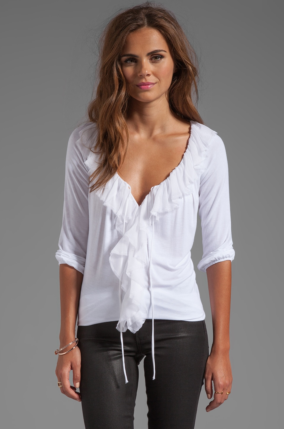 Bailey 44 Tennyson Front Ruffle Top in White