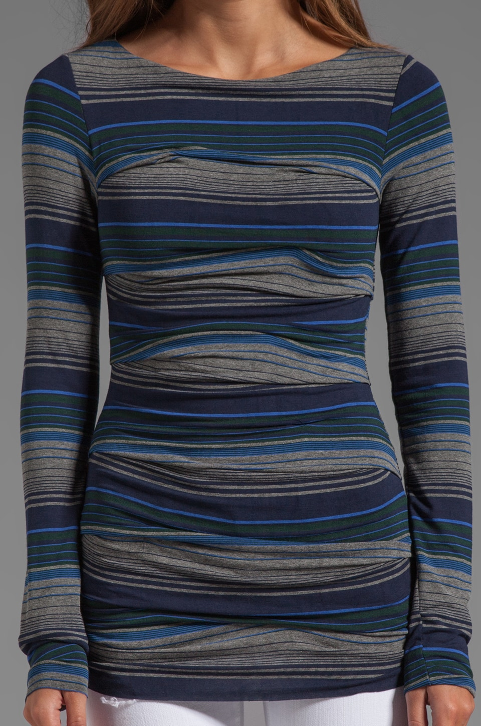 Bailey 44 Mercury Striped Top in Mercury Heather