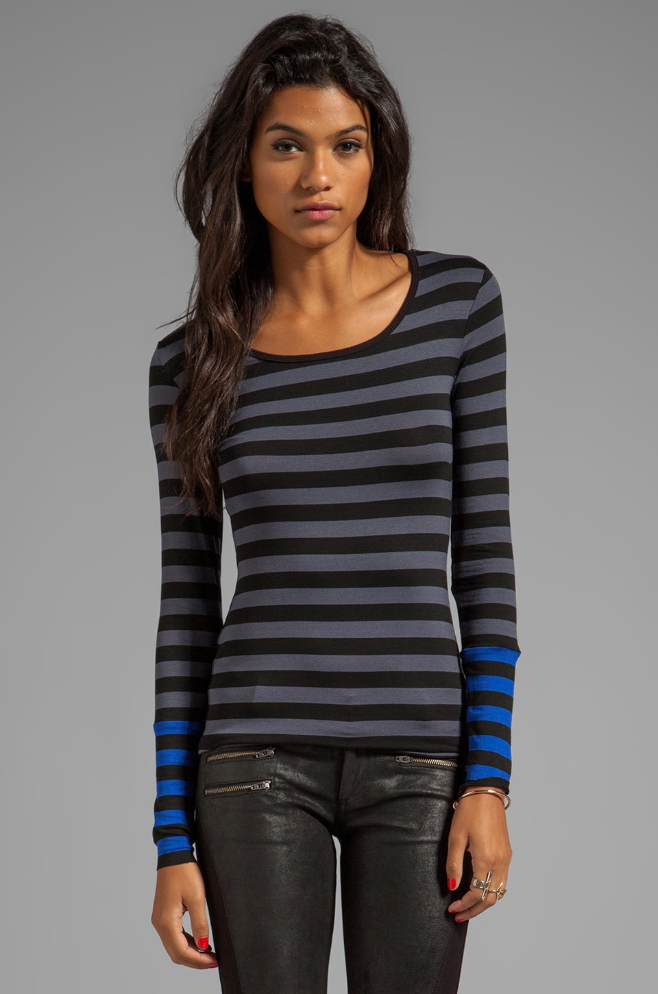 Bailey 44 Tech Neck Striped Top in Grey/Blue