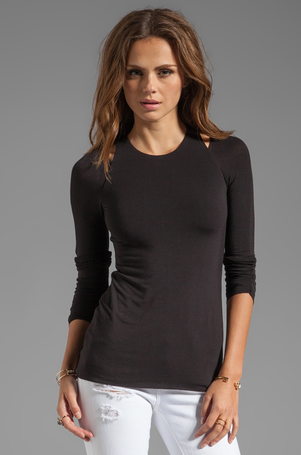 Bailey 44 Reboot Cutout Shoulder Top in Black