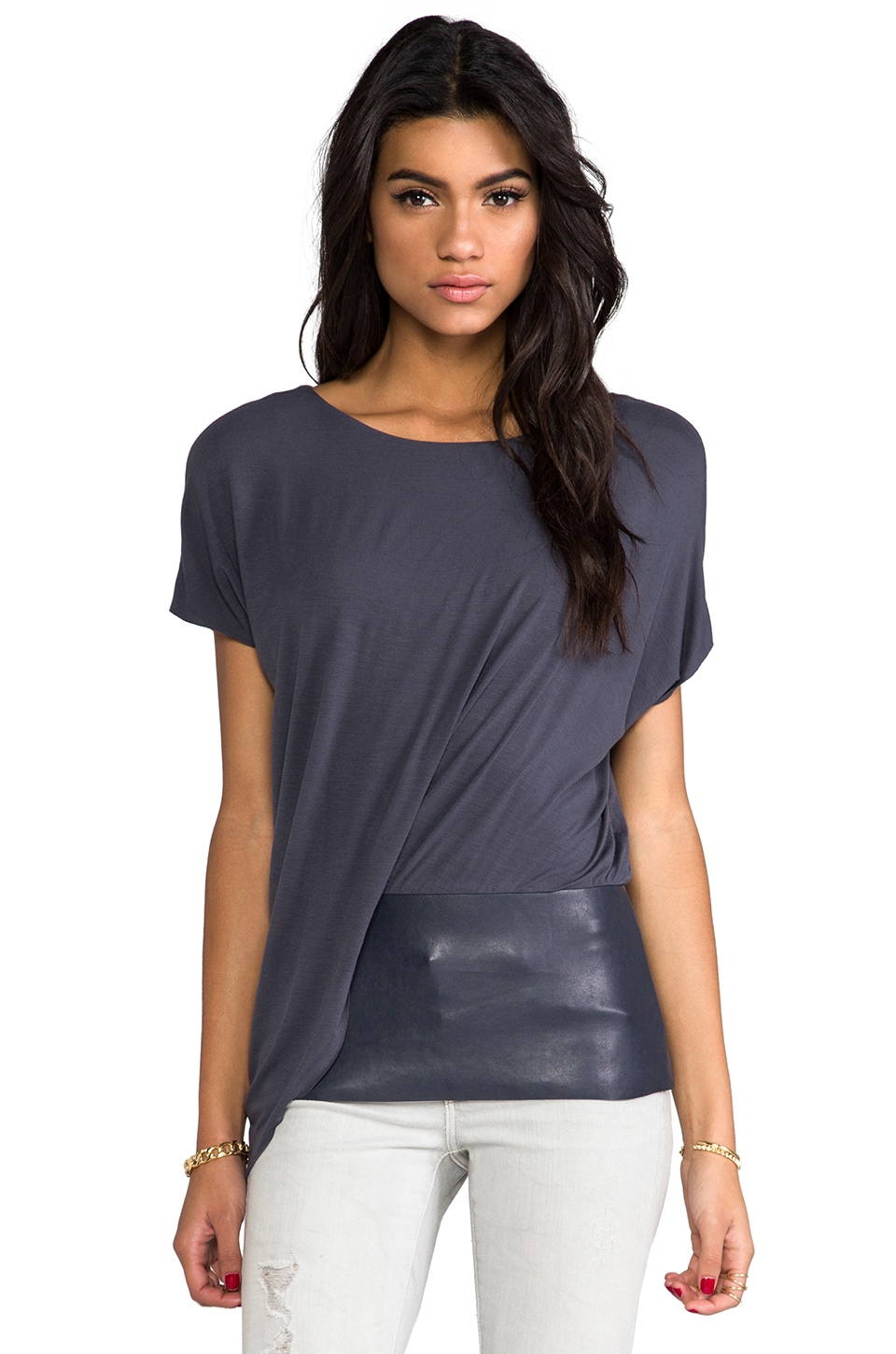 Bailey 44 Connectivity Leather Detail Top in Grey