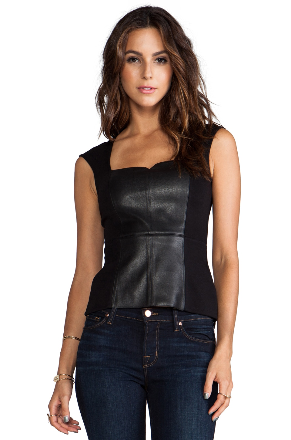 Bailey 44 Legacy of Terror Leather Peplum Top in Black