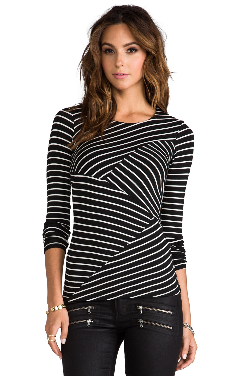 Bailey 44 The Thirteenth Window Striped Top in Black/Cream