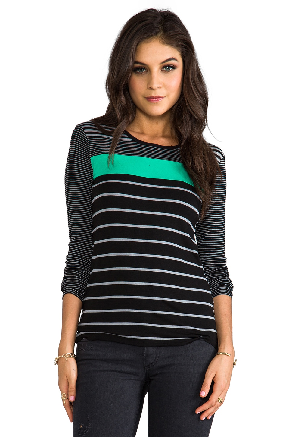 Bailey 44 Neptune Top in Black/Silver/Green
