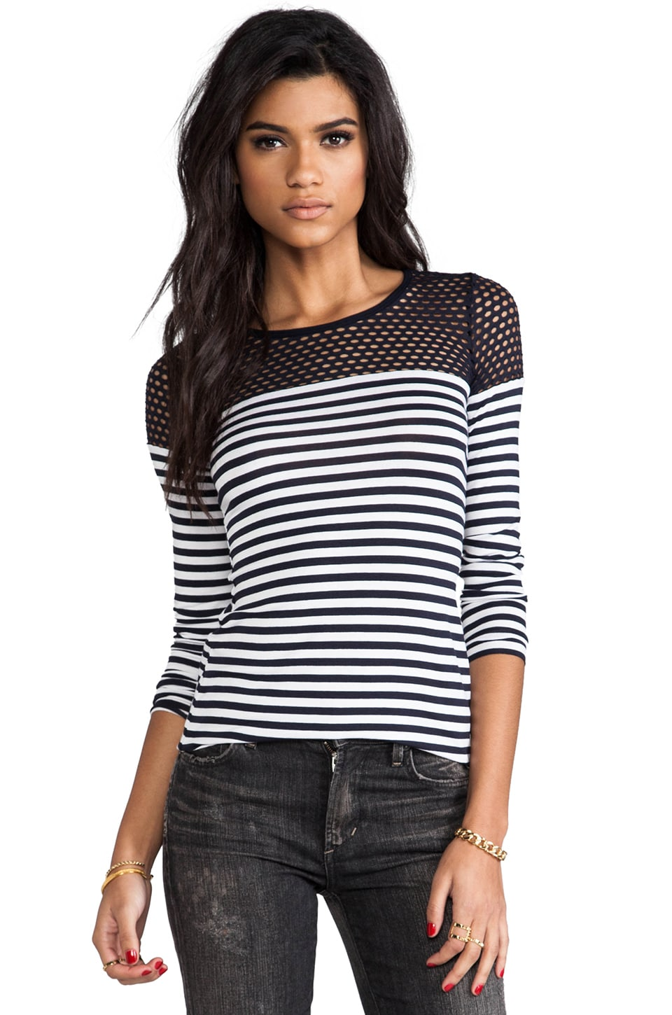 Bailey 44 Open Net Top in Navy Stripe