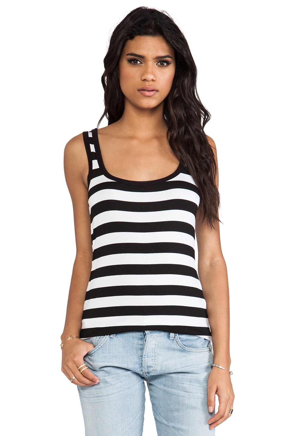 Bailey 44 Core Striped Tank in Black