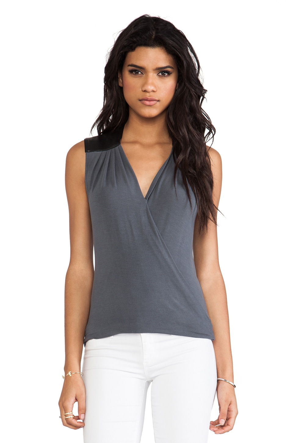Bailey 44 Twist and Turn Top in Grey & Black