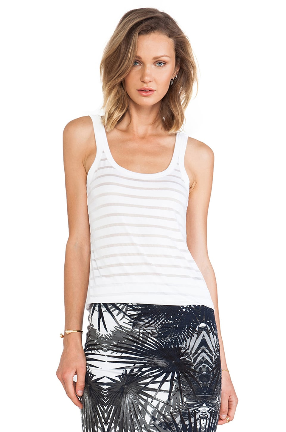 Bailey 44 Core Sheer Striped Tank in White