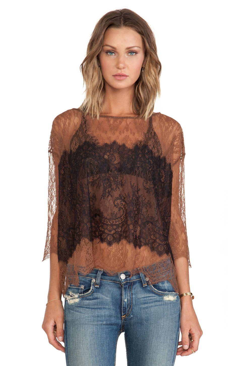 Bailey 44 Table Lace Top in Butterscotch & Black