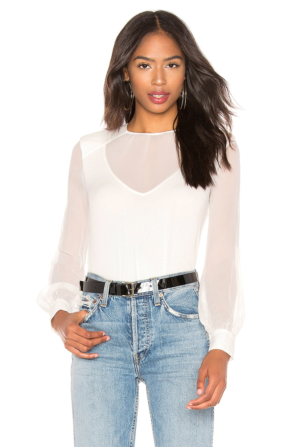 Bailey 44 To The Bone Silk Top in Chalk
