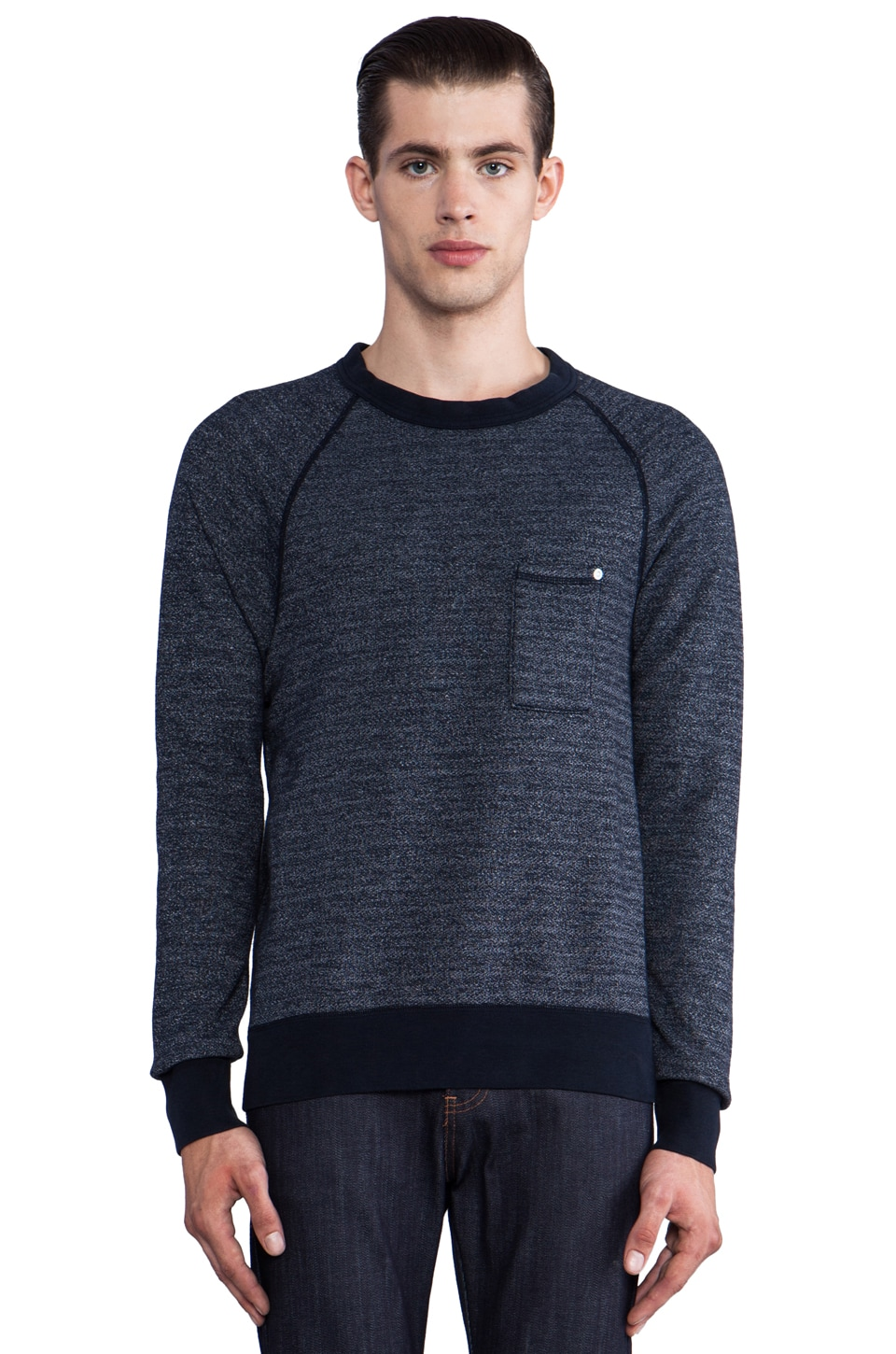 baldwin The Crew Pullover in Heather Indigo Fleece