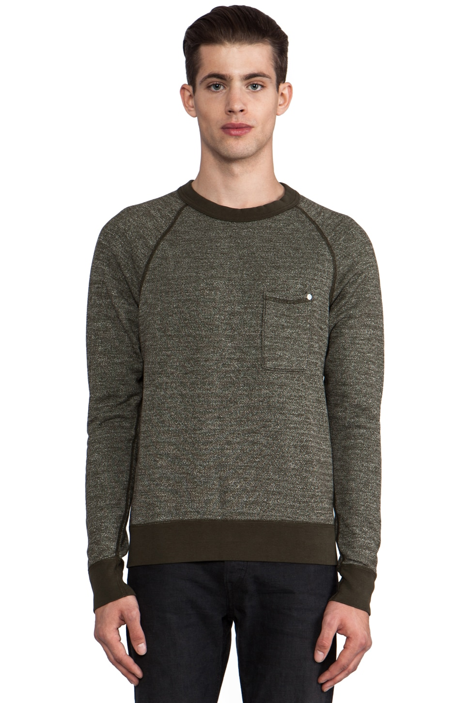 baldwin The Crew Pullover in Heather Army