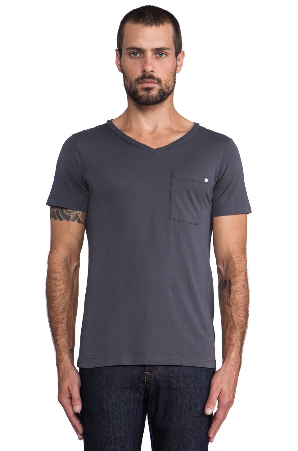 baldwin The V Tee in Charcoal
