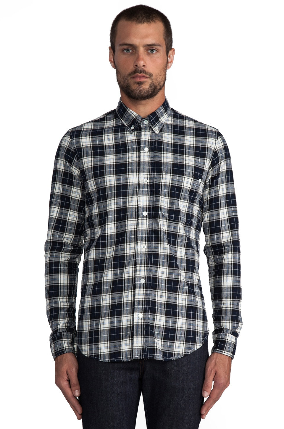 baldwin The William Button Down in White/Navy Plaid