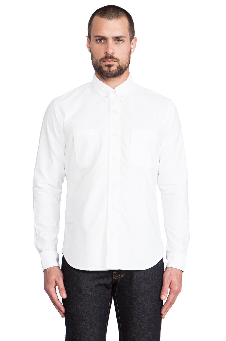 baldwin The William Button Down in White Oxford