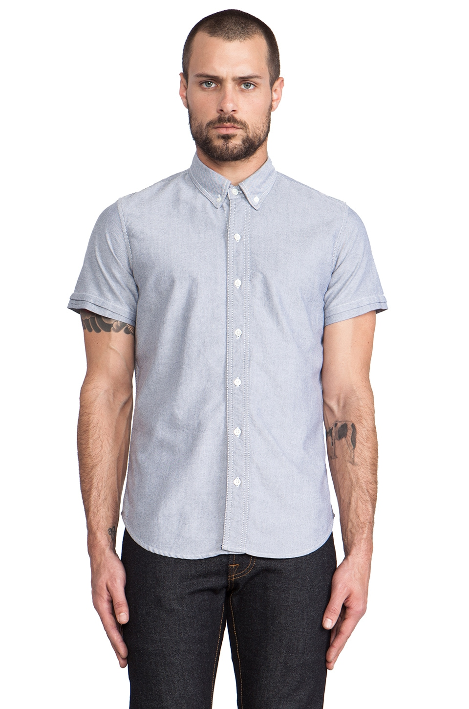 baldwin The Paul Button Down in Light Grey Oxford