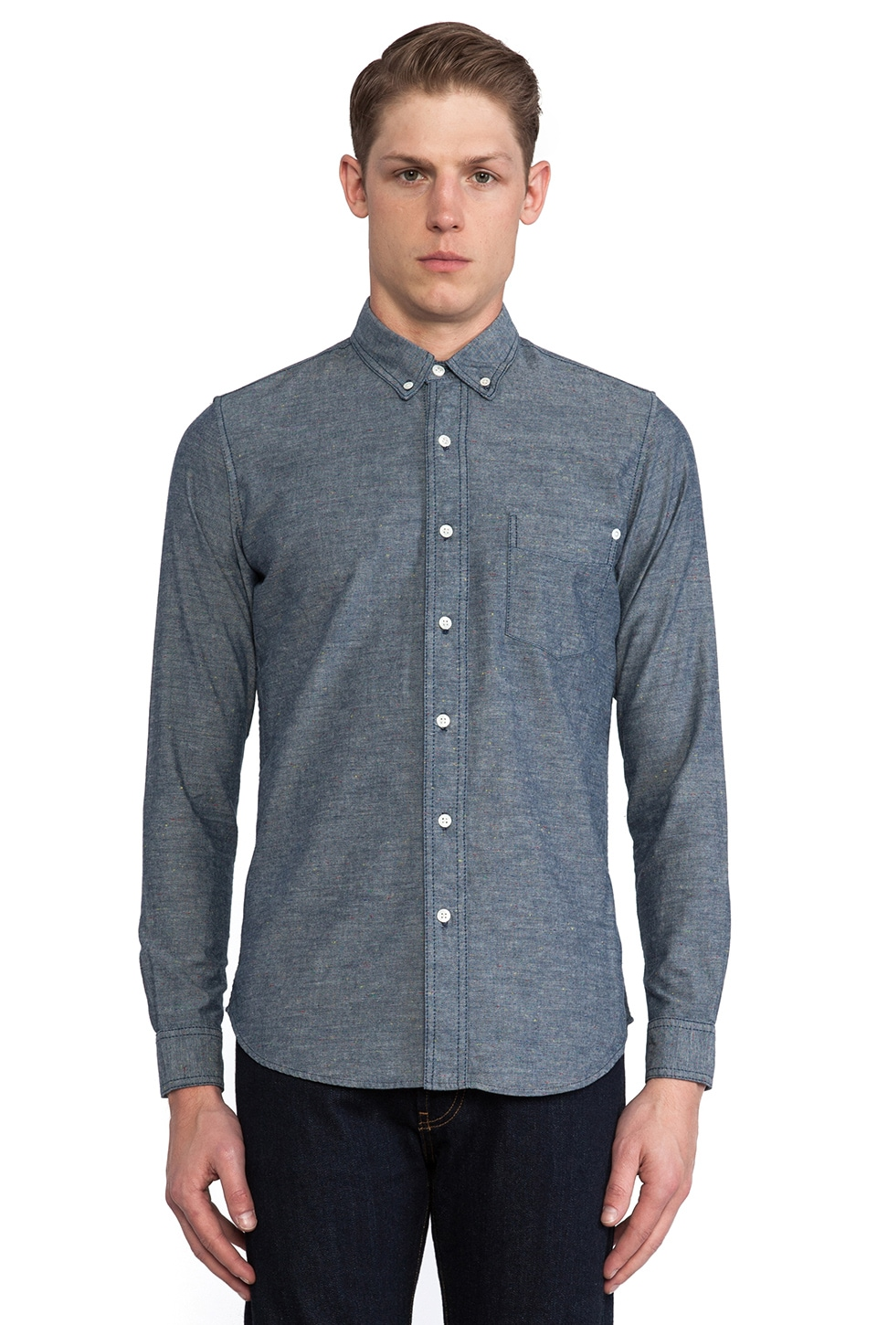 baldwin The William Button Down in Rinsed Chambray